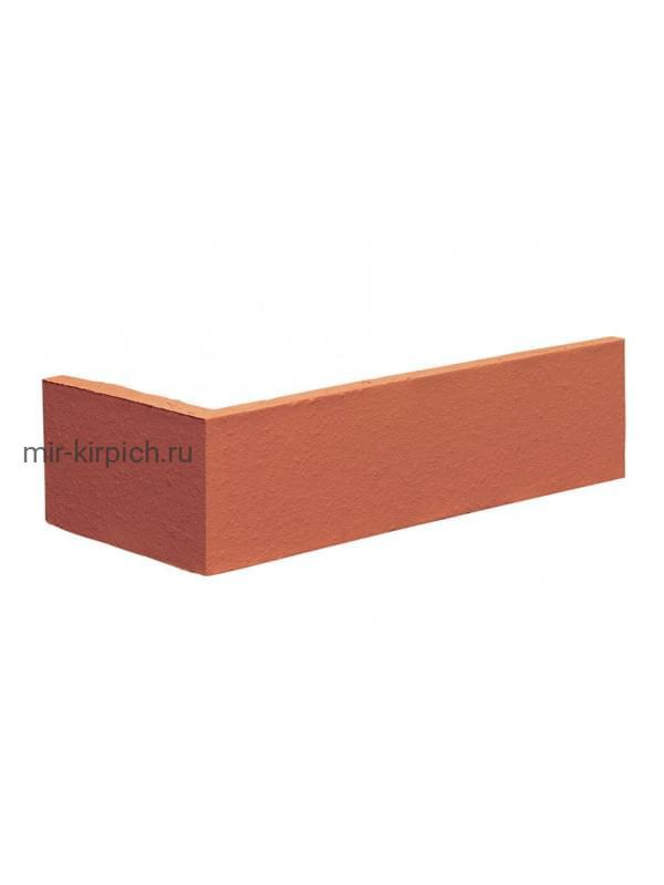 Угловая клинкерная облицовочная плитка King Klinker Dream House 01 Ruby red RF10, 250*65*120*10 мм