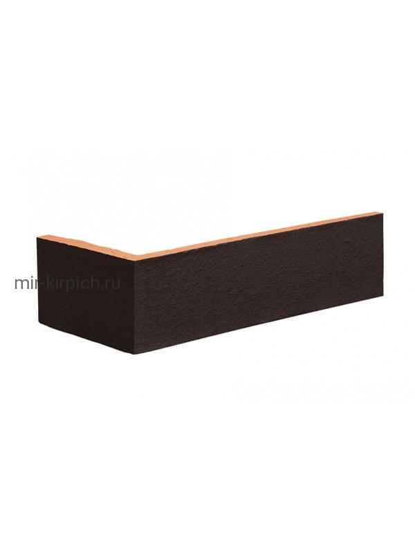 Угловая клинкерная облицовочная плитка King Klinker Dream House 18 Volcanic black RF10, 250*65*120*10 мм