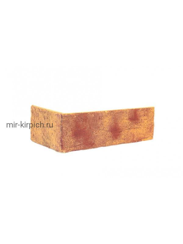 Угловая клинкерная облицовочная плитка King Klinker Old Castle Amber sea (HF13) под старину NF10, 240*71*115*10 мм